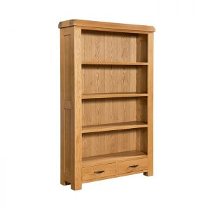 Large Oak Bookcase with 2 Drawers