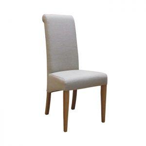 Fabric Oak Dining Chair, Beige
