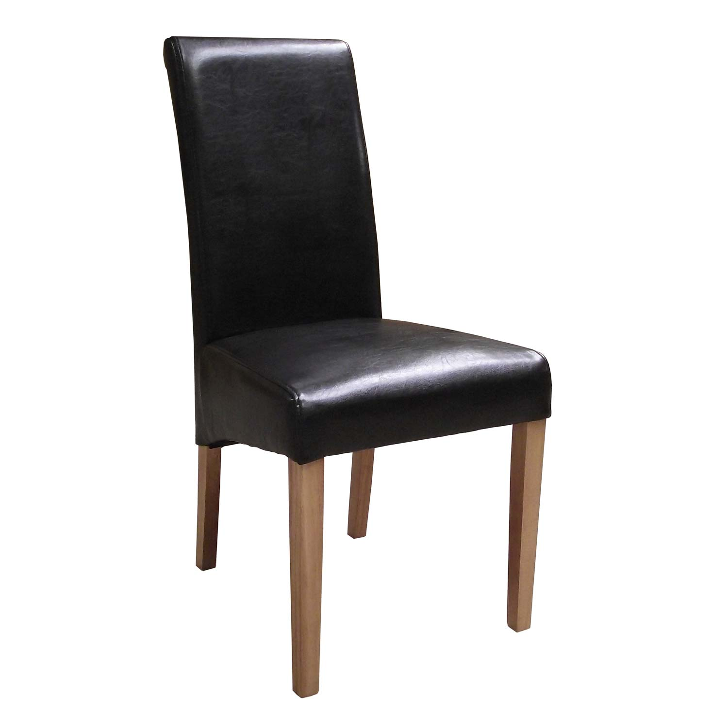 Brown faux leather dining chairs countryside pine and oak for Faux leather dining chairs