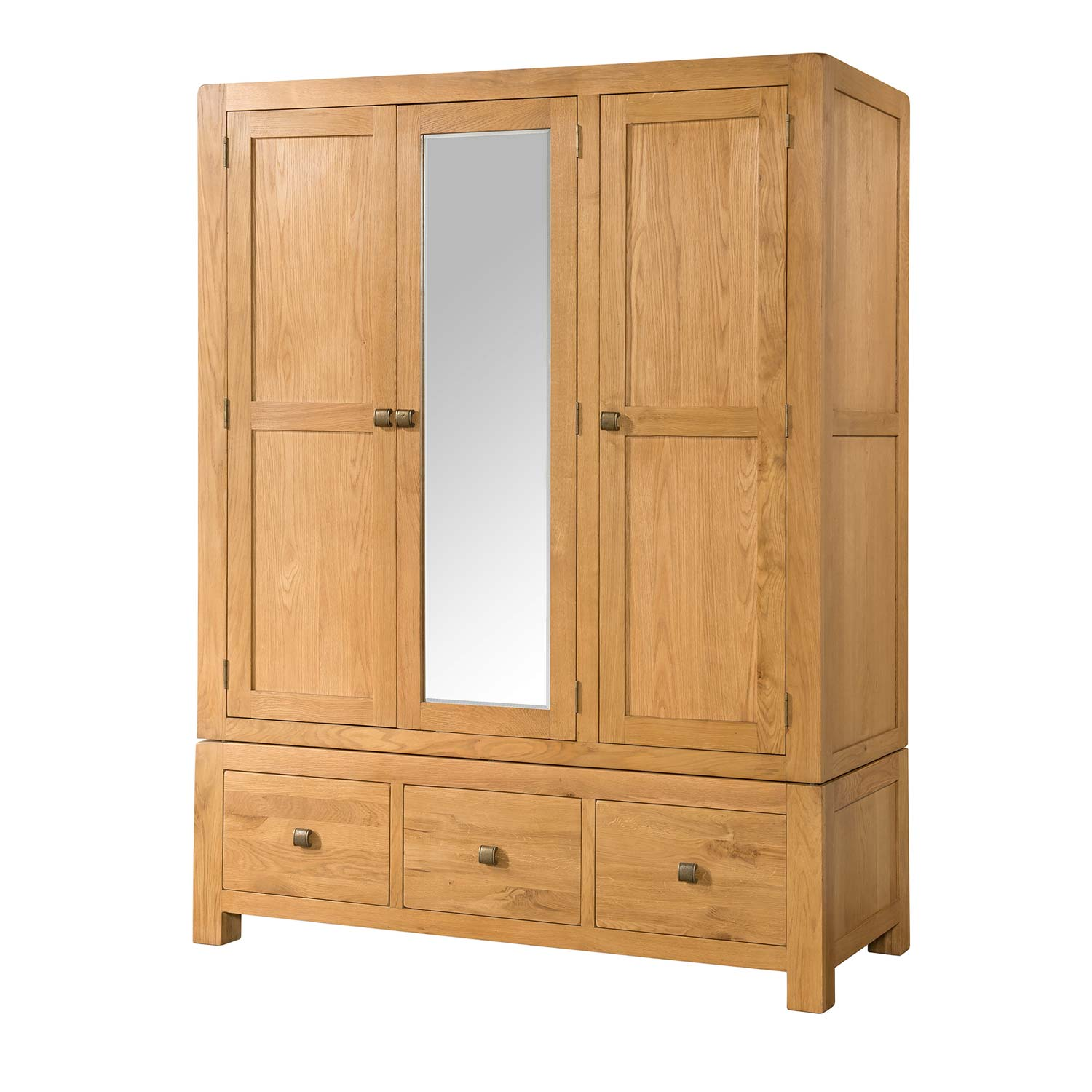 Triple Wardrobe With Three Drawers Countryside Pine And Oak