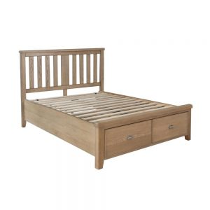 4'6 Bed with wooden headboard and drawer footboard set